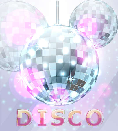 Poster with blue mirror disco ball Disco backdrop Illustration