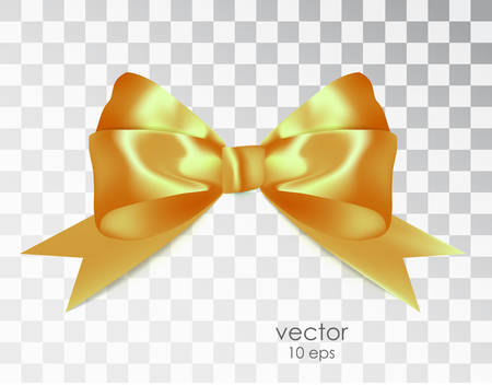 Realistic bow of ribbon isolated on a transparent backdrop