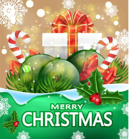 Christmas greeting card with the words Merry Christmas. Illustration