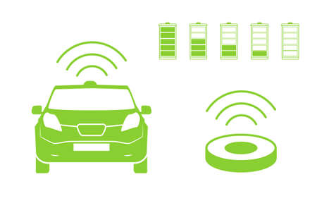 Wireless car charging station symbol. Electric car charging icon isolated. Vectores
