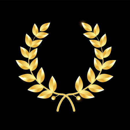 Gold laurel wreath. Symbol of victory and achievement. Design element for decoration of medal, award, coat of arms or anniversary logo. Vector illustration isolated.