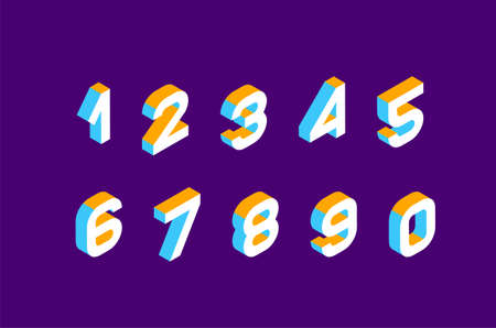 Isometrische olored nummers 3d. Driedimensionaal alfabet. Laag poly 3D-tekens. Vector illustratie.