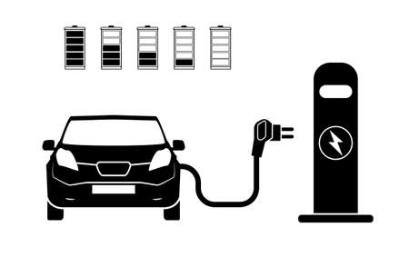 Charging station electric car black icons set.. Electric car charging icon isolated. Electric Vehicle electric car charging point icon vector. Renewable eco technologies. Vector illustration  イラスト・ベクター素材