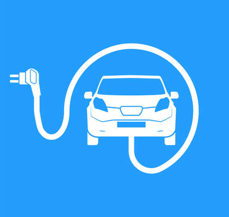 Car charging station symbol. Road sign template of electric vehicle. Renewable eco technologies. Vector illustration of minimalistic flat design Çizim