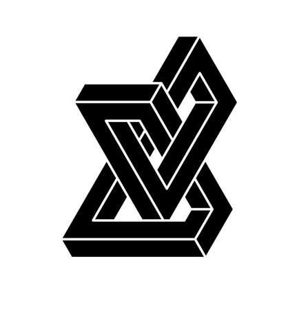 Onmogelijke vormen. Optische illusie. Vector illustratie geïsoleerd op wit. Heilige geometrie. Zwarte vormen op een witte achtergrond.