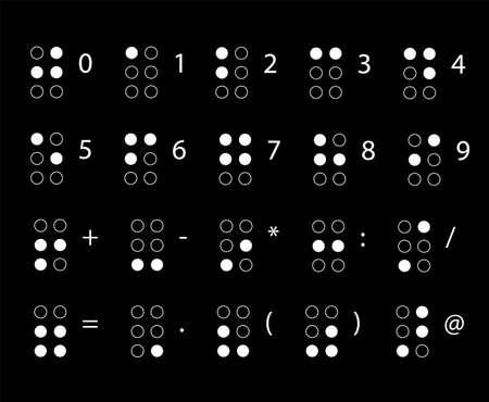Braille nummers. Lezen voor blinden. Tactiel schrijfsysteem dat wordt gebruikt door mensen die blind of slechtziend zijn. Vector illustratie.