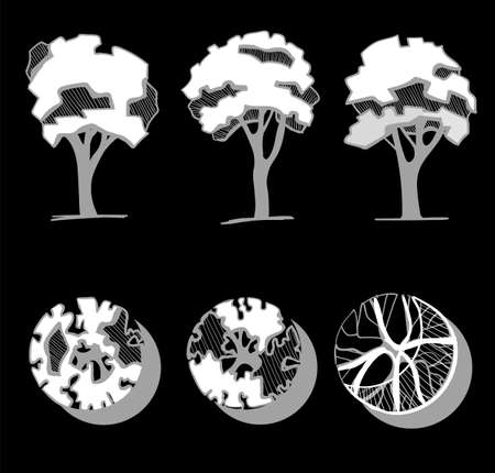 Trees for a landscape design. Different hand drawn trees isolated on black background, sketch, architectural drawing style trees set. Top and front view.