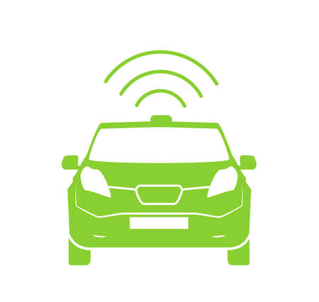 Wireless car charging station symbol. Electric car charging icon isolated. Electric Vehicle Green electric car charging point icon vector. Renewable eco technologies. Vector illustration