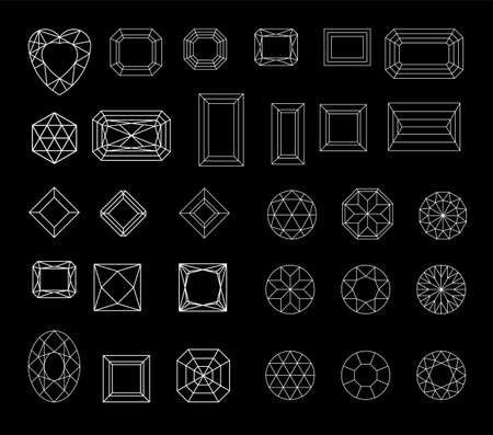 Collection shapes of diamond against black background Vetores
