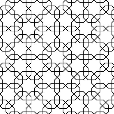 Islamisches Muster. Geometrischer Schwarzweiss-Gitterhintergrund des nahtlosen Vektors im arabischen Stil