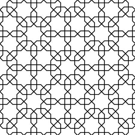 Patrón islámico. Fondo de celosía blanco y negro geométrico de vector transparente en estilo árabe