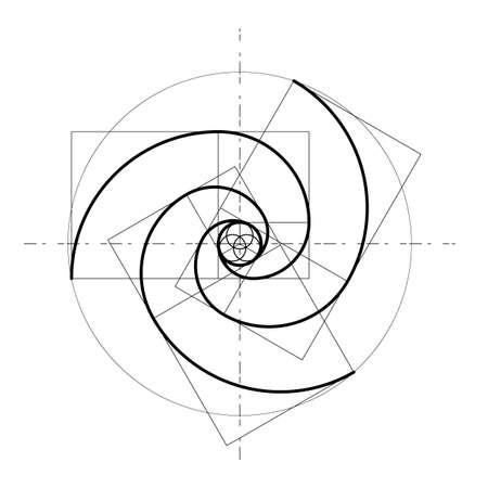 Design in stile minimalista. Rapporto aureo. Forme geometriche. Cerchi in proporzione aurea. Design futuristico. Logo. Icona di vettore. Priorità bassa astratta di vettore