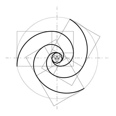 Minimalistisches Design. Goldener Schnitt. Geometrische Formen. Kreise in goldenem Verhältnis. Futuristisches Design. Logo. Vektorsymbol. Abstrakter Vektorhintergrund
