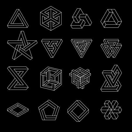 Set of impossible shapes. Optical Illusion. Vector Illustration isolated on white. Sacred geometry. White lines on a black background.