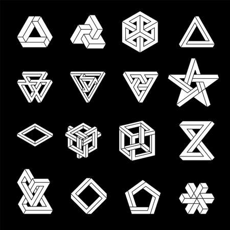 Set of impossible shapes. Optical Illusion. Vector Illustration isolated on white. Sacred geometry. White shapes. on a black background. Vetores