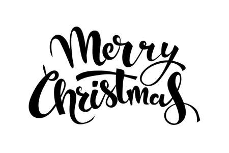 Merry Christmas handwritten lettering. Black text isolated on white background. Christmas holidays typography. Vector illustration.