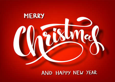 Merry Christmas handwritten lettering. White text isolated on red background. Christmas holidays typography. Vector illustration.