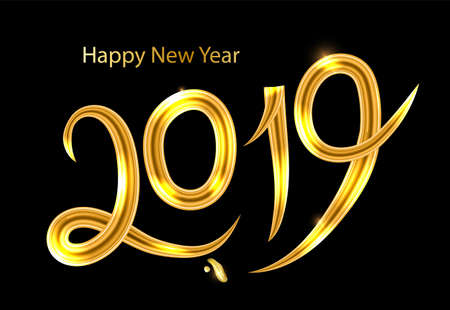 2019 golden New Year sign with golden glitter on black background. Vector New Year illustration. Happy New Year Banner with 2019 Numbers . Golden Calligraphy lettering. Vector