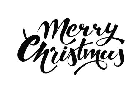 Merry Christmas handwritten lettering. Black text isolated on white background. Christmas holidays typography. Vector illustration