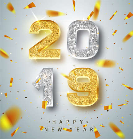 Happy New Year 2019 Greeting Card with Gold and Silver Numbers on White Background. Vector Illustration. Merry Christmas Flyer or Poster Design. Banner with 2019 Numbers on Bright Background. Vector.