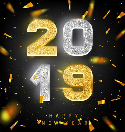 Happy New Year 2019 Greeting Card with Gold and Silver Numbers on Black Background. Vector Illustration. Merry Christmas Flyer or Poster Design. Banner with 2019 Numbers on Bright Background. Vector Illustration