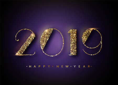 2019 Happy New Year Background for your Seasonal Flyers and Greetings Card or Christmas themed invitations. Banner with 2019 Numbers on trendy ultraviolet Background. Vector illustration.