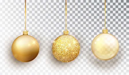 Gold Christmas tree toy set isolated on a transparent background. Stocking Christmas decorations. Vector object for christmas design, mockup. Vector realistic object Illustration 10 EPS