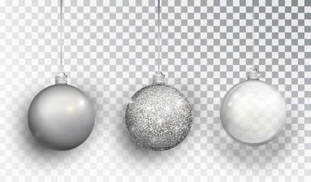 Silver Christmas tree toy set isolated on a transparent background. Stocking Christmas decorations. Vector object for christmas design, mockup. Vector realistic object Illustration 10 EPS