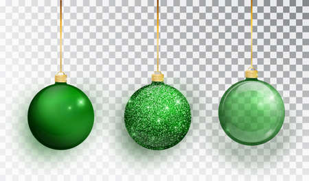 Green Christmas tree toy set isolated on a transparent background. Stocking Christmas decorations. Vector object for christmas design, mockup. Vector realistic object Illustration 10 EPS Иллюстрация
