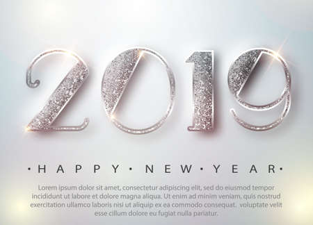 Happy New Year 2019 Greeting Card with Silver Numbers on White Background. Vector Illustration. Merry Christmas Flyer or Poster Design. Vector 10 EPS Illustration