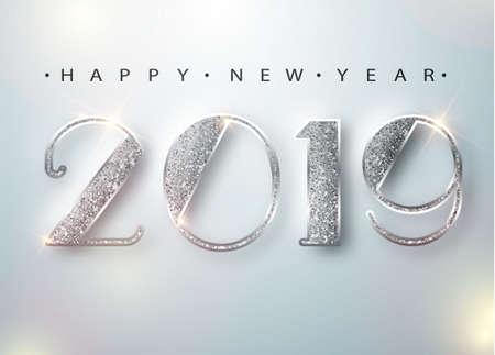 Cartolina d'auguri di felice anno nuovo 2019 con numeri d'argento su sfondo bianco. Illustrazione di vettore. Buon Natale volantino o poster design. Vettore 10 EPS