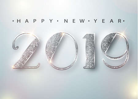 Szczęśliwego nowego roku 2019 kartkę z życzeniami ze srebrnymi cyframi na białym tle. Ilustracja wektorowa. Wesołych Świąt ulotka lub projekt plakatu. wektor 10 eps