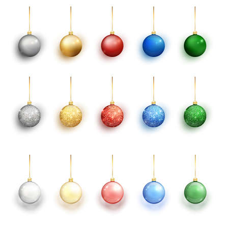 Colorful christmas balls set on white background. Christmas decorations. Vector object for christmas design, mockup. Vector realistic object Illustration 10 EPS