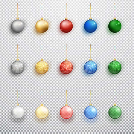 Colorful christmas balls set isolated on a transparent background. Christmas decorations. Vector object for christmas design, mockup. Vector realistic object Illustration 10 EPS