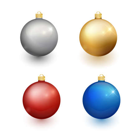 Set of Christmas balls on a white background. Christmas decorations. Vector object for christmas design, mockup. Vector realistic object Illustration 10 EPS. Illustration