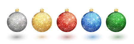 Colorful christmas balls set on white background. Christmas decorations. Vector object for christmas design, mockup. Vector realistic object Illustration 10 EPS. Stock Vector - 110341806