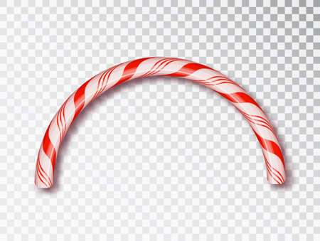 Christmas Candy border isolated . Blank Christmas design, realistic red and white twisted cord frame. New Year 2019. Holiday design, decor. Vector illustration. Ilustração Vetorial
