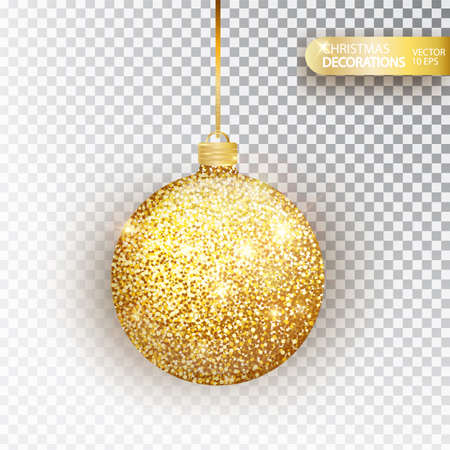 Golden glitter Christmas bauble golden glitter isolated on white. Sparkling glitter texture bal, holiday decoration. Stocking Christmas decorations.Gold hanging bauble. Vector illustration.