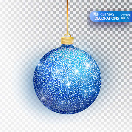 Christmas bauble blue glitter isolated on white. Sparkling glitter texture bal, holiday decoration. Stocking Christmas decorations. Blue hanging bauble. Vector illustration. Ilustrace