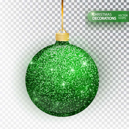 Christmas bauble green glitter isolated on white. Sparkling glitter texture bal, holiday decoration. Stocking Christmas decorations. Green hanging bauble. Vector illustration.