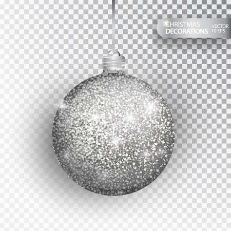 Christmas bauble silver glitter isolated on white. Sparkling glitter texture bal, holiday decoration. Stocking Christmas decorations. Silver hanging bauble. Vector illustration. Ilustrace