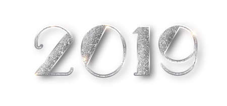 2019 glitter typography design. Silver sparkling Numbers Design of greeting card of Happy new year design. Silver Shining Pattern. Happy New Year Banner with 2019 Numbers. Vector illustration.