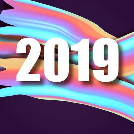 2019 New Year on the background of a colorful brushstroke oil or acrylic paint design element. Vector illustration.