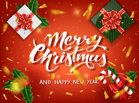 Christmas design vector template. Calligraphic Merry Christmas Lettering Decorated. Christmas poster template. Vector illustration EPS10.