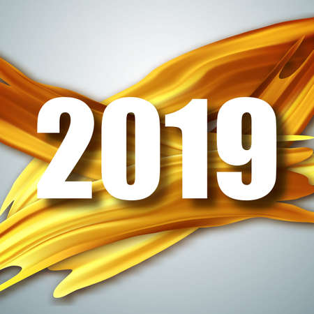 Gold 2019 Happy New Year greeting card. Banner with 2019 Numbers. Vector New Year illustration. Gold Acrylic brush strokes. Vector illustration EPS10
