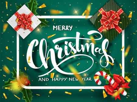 Christmas green design vector template. Calligraphic Merry Christmas Lettering Decorated. Christmas poster template. Vector illustration EPS10. Stock Photo