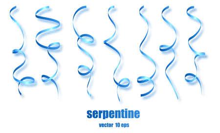 Blue curly ribbon serpentine confetti. Blue streamers set on transparent background. Colorful design decoration party, holiday event, carnival, Christmas, New Year greeting. Vector illustration Vektoros illusztráció