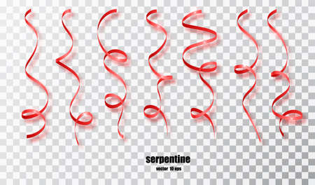 Red curly ribbon serpentine confetti. Red streamers set on transparent background. Colorful design decoration party, holiday event, carnival, Christmas, New Year greeting. Vector illustration