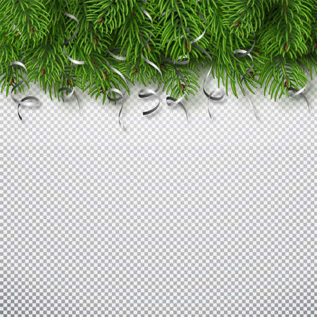 Winter holiday background. Border with Christmas tree branches and serpantine isolated. Fir needles garland, frame with streamers. Vector. Illusztráció