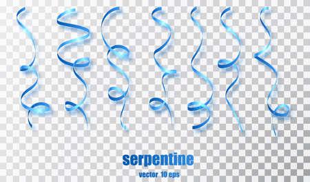 Blaues geschweiftes Band-Serpentinen-Konfetti. Blaue Streamer auf transparentem Hintergrund. Bunte Designdekorationsparty, Feiertagsveranstaltung, Karneval, Weihnachten, Neujahrsgruß. Vektor-Illustration